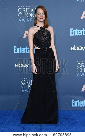 LOS ANGELES - DEC 11:  Emma Stone arrives to the Critics' Choice Awards 2016 on December 11, 2016 in Hollywood, CA