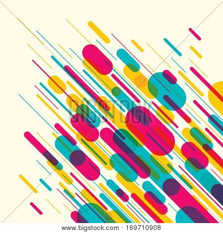 Abstract style pattern with composition of rounded objects and lines in color. Vector illustration.