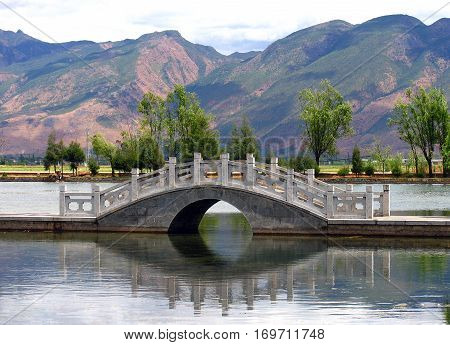 Scenic mountains and lake in Yunnan province China