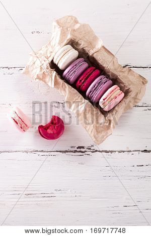Colorful Tasty Macaroons In Gift Box On Table,french Delicious Cake