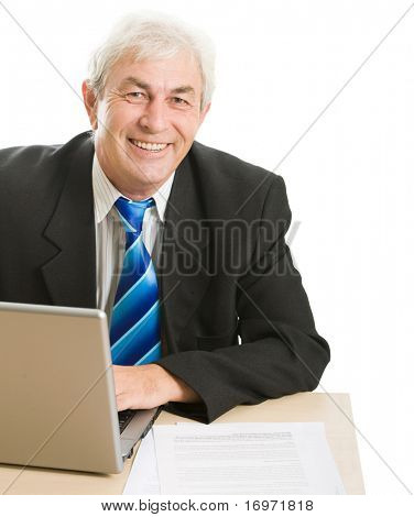 Portrait of confident boss sitting at the table