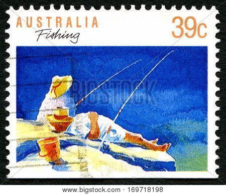AUSTRALIA - CIRCA 1989: A used postage stamp from Australia depicting an illustration of Fishing circa 1989.