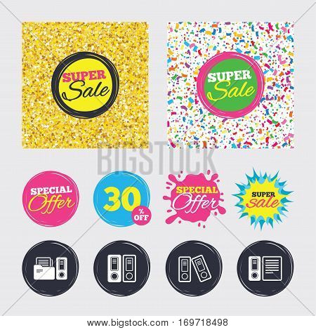 Gold glitter and confetti backgrounds. Covers, posters and flyers design. Accounting icons. Document storage in folders sign symbols. Sale banners. Special offer splash. Vector