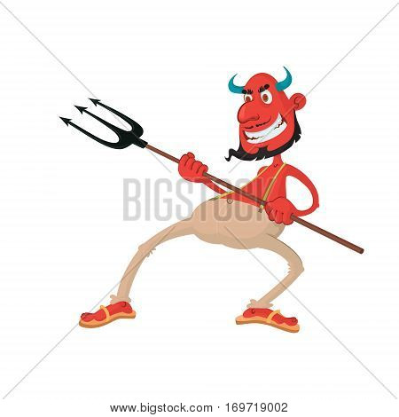 Vector illustration of a funny devil with pitchfork