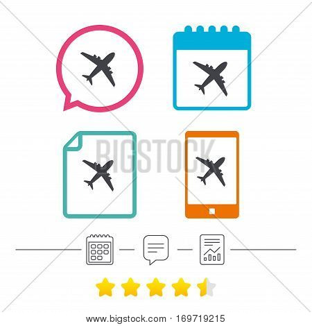 Airplane sign. Plane symbol. Travel icon. Flight flat label. Calendar, chat speech bubble and report linear icons. Star vote ranking. Vector
