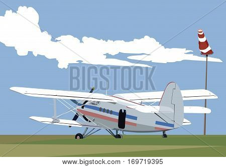 biplane at airport transportation theme art illustration