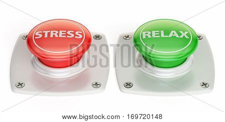 relax and stress push button 3D rendering isolated on white background