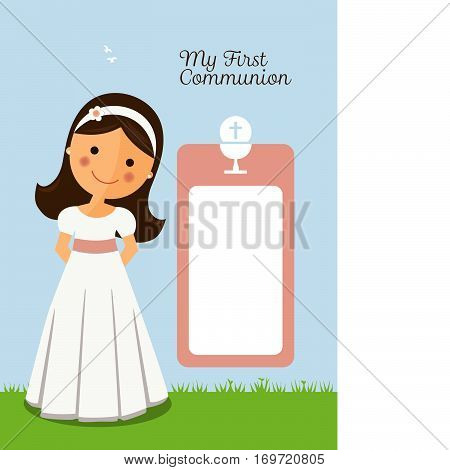 My first communion invitation with message and foreground girl on grey background