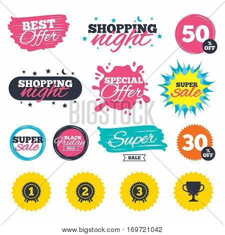 Sale shopping banners. Special offer splash. First, second and third place icons. Award medals sign symbols. Prize cup for winner. Web badges and stickers. Best offer. Vector