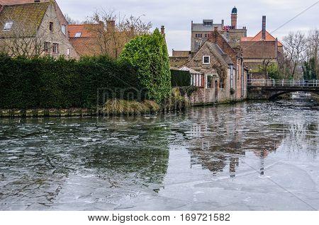 Frozen Canal In Bruges, Belgium