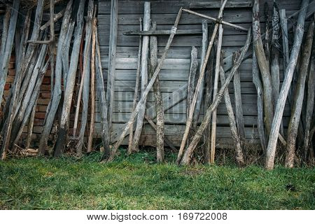 Old wooden shed wall