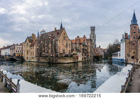 Evening Scenery In Bruges, Belgium