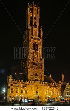Illuminated Belfry Tower In Bruges, Belgium