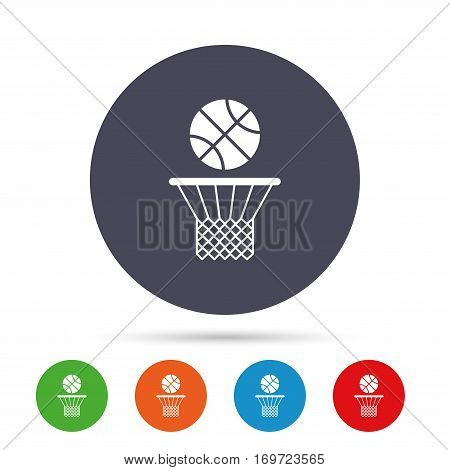 Basketball basket and ball sign icon. Sport symbol. Round colourful buttons with flat icons. Vector