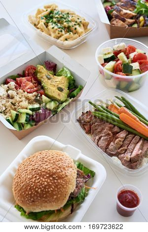 Options variety assortment of takeout food gourmet takeaways delivery