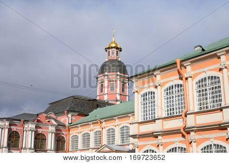 Church of the Annunciation of the Alexander Nevsky Lavra, ancient monastery in Baroque style in center of St.Petersburg, Russia.