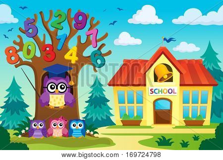 Tree with stylized school owl theme 8 - eps10 vector illustration.