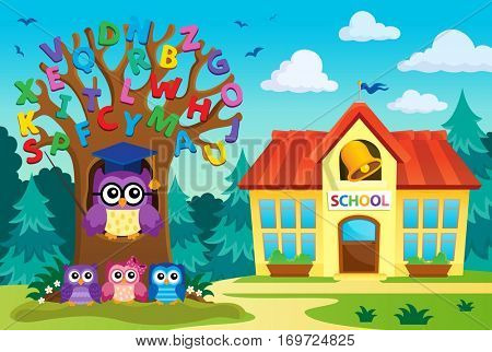 Tree with stylized school owl theme 7 - eps10 vector illustration.