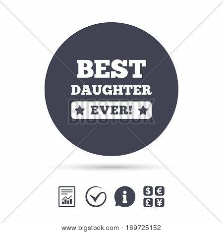 Best daughter ever sign icon. Award symbol. Exclamation mark. Report document, information and check tick icons. Currency exchange. Vector