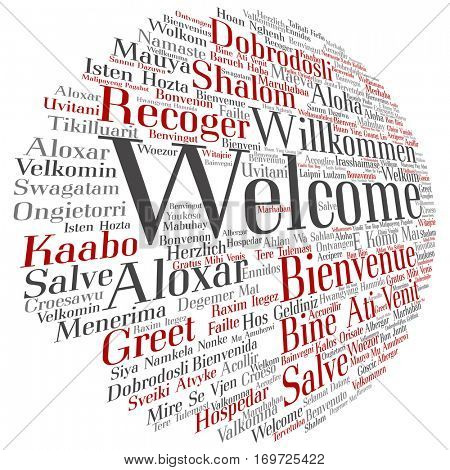 Concept or conceptual abstract welcome or greeting international word cloud in different languages or multilingual isolated,  metaphor to world, foreign, worldwide, travel, translate, vacation tourism