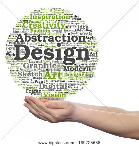 Concept conceptual creativity art graphic design visual word cloud in hand  isolated on background metaphor to advertising, decorative, fashion, identity, inspiration, vision, perspective or modeling
