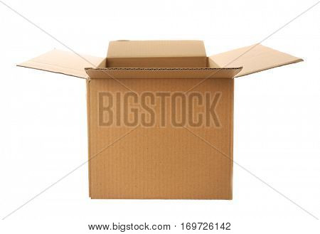Opened cartoon box isolated on white