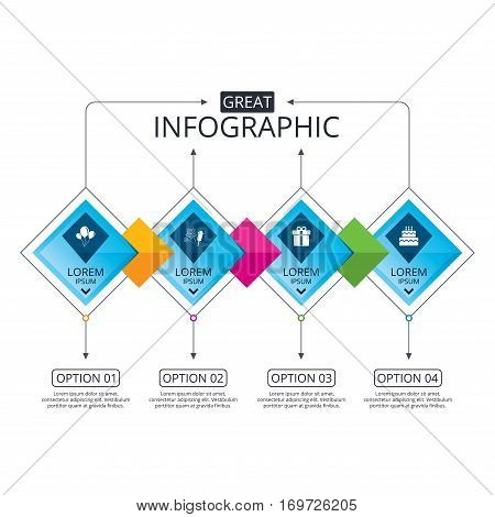 Infographic flowchart template. Business diagram with options. Birthday party icons. Cake and gift box signs. Air balloons and fireworks symbol. Timeline steps. Vector