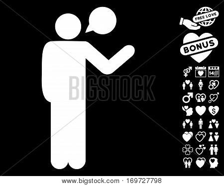 Talking Man icon with bonus valentine graphic icons. Vector illustration style is flat iconic white symbols on black background.