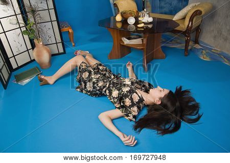 Crime Scene Simulation: Poisoned Woman Lying On The Floor