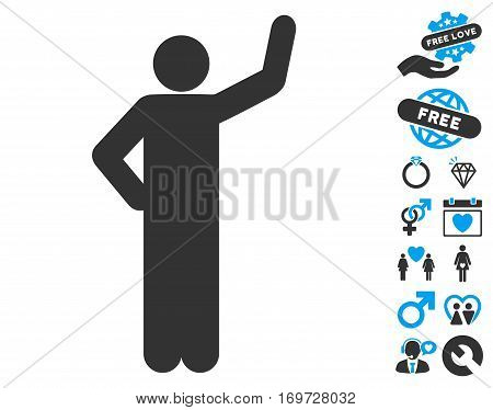 Assurance Pose icon with bonus valentine pictograms. Vector illustration style is flat iconic blue and gray symbols on white background.