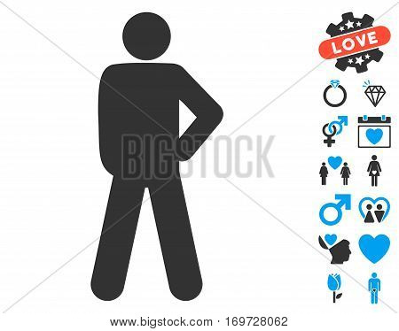 Audacity Pose icon with bonus love pictures. Vector illustration style is flat iconic blue and gray symbols on white background.