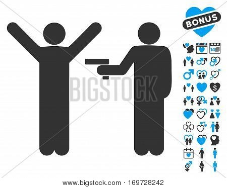 Crime Robbery pictograph with bonus dating pictograph collection. Vector illustration style is flat iconic blue and gray symbols on white background.