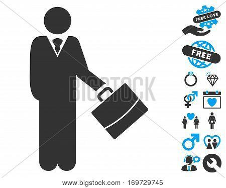 Standing Businessman icon with bonus love icon set. Vector illustration style is flat iconic blue and gray symbols on white background.