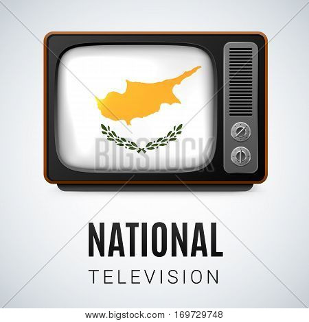 Vintage TV and Flag of Cyprus as Symbol National Television. Tele Receiver with Cypriot flag