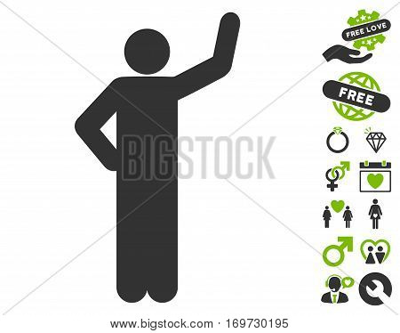 Assurance Pose pictograph with bonus love graphic icons. Vector illustration style is flat iconic eco green and gray symbols on white background.