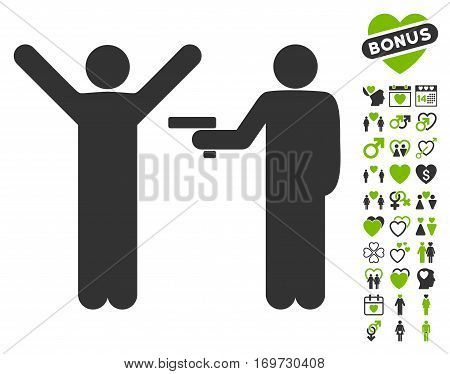 Crime Robbery icon with bonus love pictograms. Vector illustration style is flat iconic eco green and gray symbols on white background.