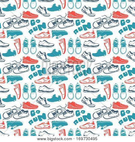 Running seamless pattern. Cartoon sneakers texture and sport run trendy footwear. Vector illustration fitness exercise shoe athletic textile and go training motivation.