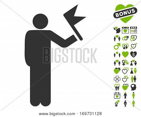 Man With Flag pictograph with bonus love images. Vector illustration style is flat iconic eco green and gray symbols on white background.