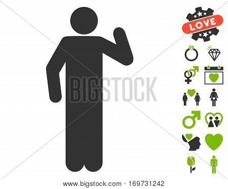 Opinion Pose pictograph with bonus dating clip art. Vector illustration style is flat iconic eco green and gray symbols on white background.
