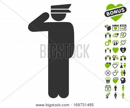 Police Officer pictograph with bonus valentine images. Vector illustration style is flat iconic eco green and gray symbols on white background.