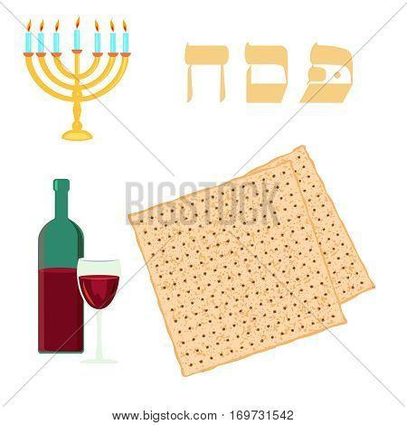 Passover traditional matzoh menorah and wine. Vector illustration on white background