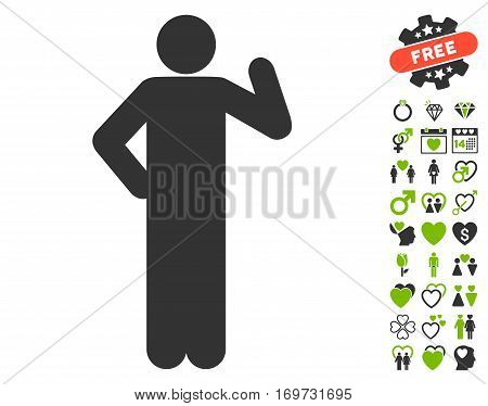 Proposal Pose pictograph with bonus dating design elements. Vector illustration style is flat iconic eco green and gray symbols on white background.