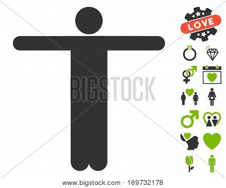 Scarecrow Pose icon with bonus dating pictograph collection. Vector illustration style is flat iconic eco green and gray symbols on white background.