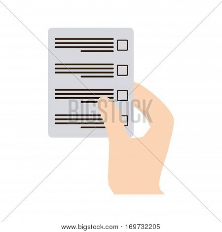 official documents in the hand icon design, vector illustration image