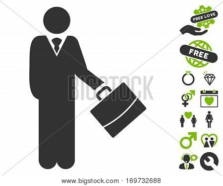 Standing Businessman pictograph with bonus lovely design elements. Vector illustration style is flat iconic eco green and gray symbols on white background.