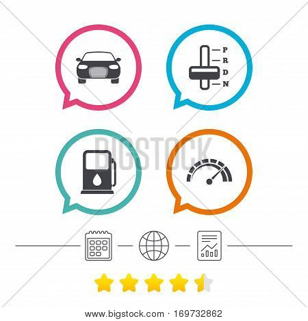 Transport icons. Car tachometer and automatic transmission symbols. Petrol or Gas station sign. Calendar, internet globe and report linear icons. Star vote ranking. Vector