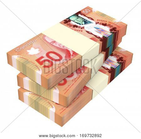 WROCLAW, POLAND - DECEMBER 27: 3D illustration of Canadian banknotes drawn on 27 December 2015 in Wroclaw, Poland. Dollar banknotes are the new polymer bills of Canada.