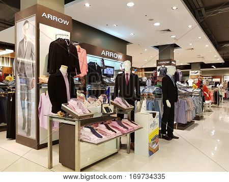 CHIANG RAI THAILAND - FEBRUARY 2 : Department store interior view with men cloth zone at Central Plaza on February 2 2017 in Chiang rai Thailand.