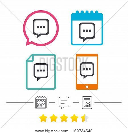 Chat sign icon. Speech bubble with three dots symbol. Communication chat bubble. Calendar, chat speech bubble and report linear icons. Star vote ranking. Vector