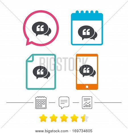 Chat Quote sign icon. Quotation mark symbol. Double quotes at the beginning of words. Calendar, chat speech bubble and report linear icons. Star vote ranking. Vector